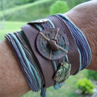 Leather with hand dyed silk wrap, ancient Chinese coin, abalone, and Amazonite