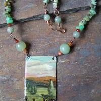 Acrylic on copper with resin, jade, carnelian, amazonite