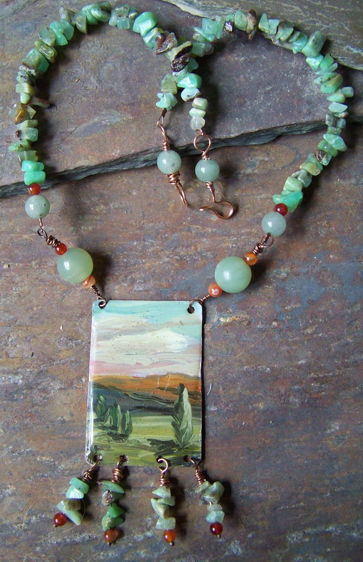 Acrylic on copper with resin, jade, carnelian, amazonite