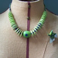 Yellow turquoise, lampworked bead, glass beads