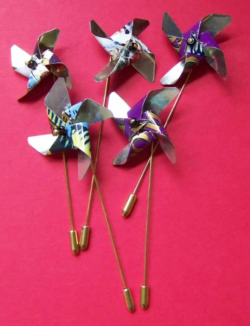 Recycled tin, working pinwheels