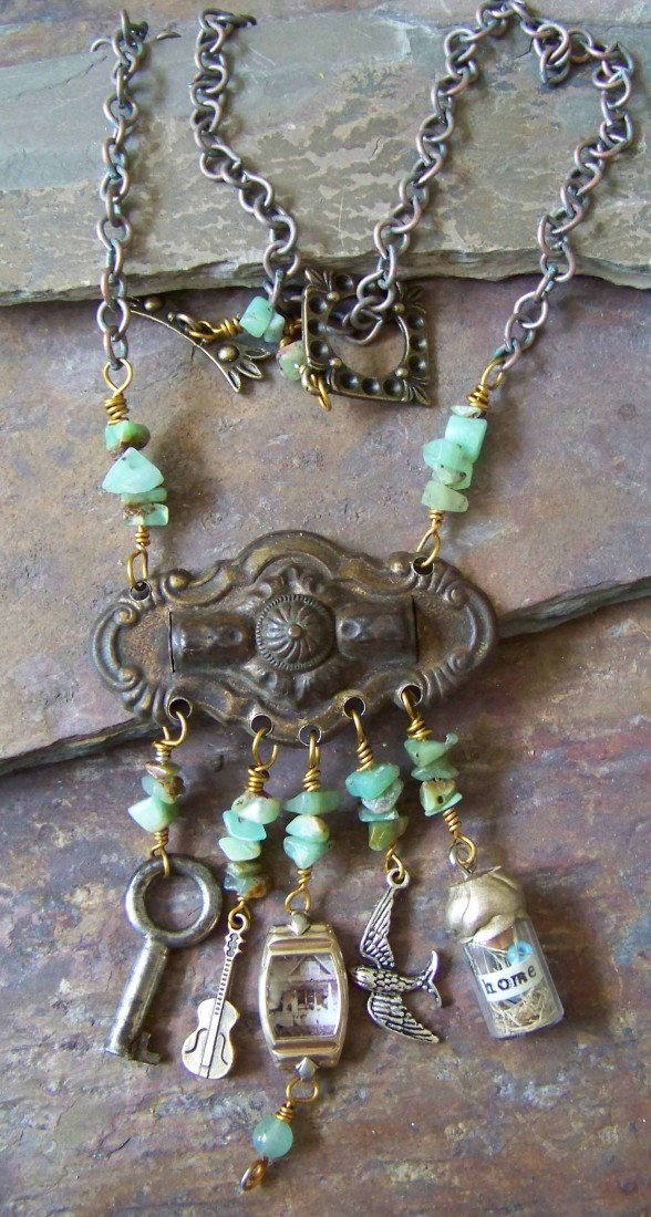 Antique dresser handle, charms, watch case with photo, nest in a bottle amazonite stones